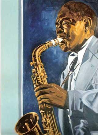 bird's song. portrait de jazzman. Huile sur tpoile de j-paul pagnon