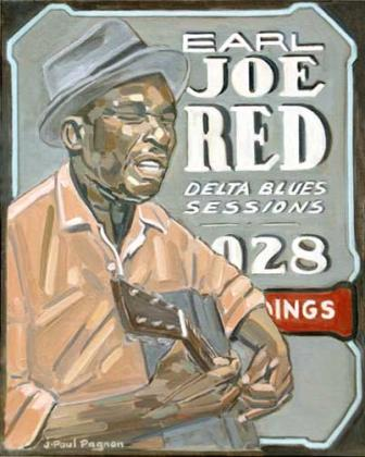 EARL JOE RED Huile sur toile. 50 x 40cm